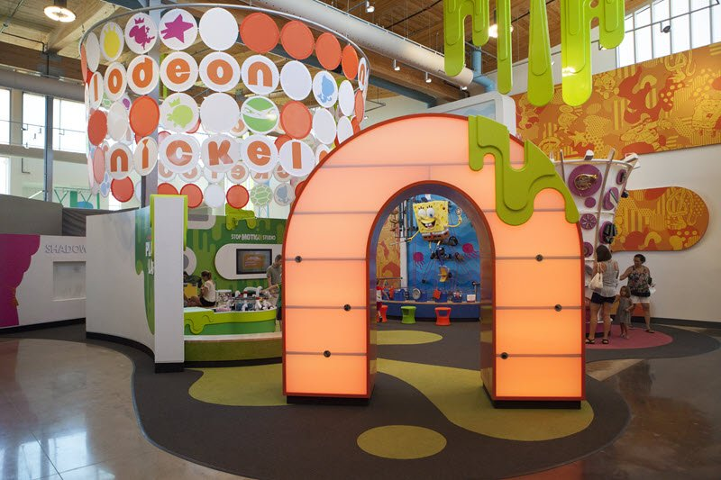 Nickleodeon play area, inside the Amazeum