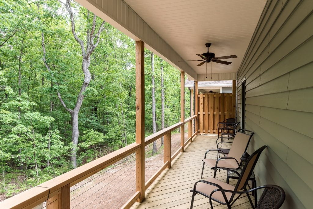 Covered porch of a Trails Edge vacation rental in Bella Vista