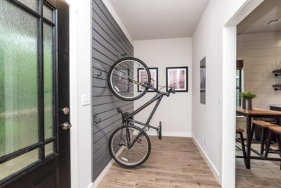 bicycle mounts inside Trails Edge cabins vacation rentals Bella Vista Arkansas